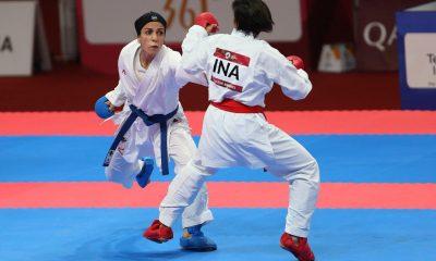 طراوت خاکسار 1 400x240 ویدئو | لحظه پیروزی خاکسار و قهرمانی ایران در کومیته تیمی کاراته قهرمانی آسیا