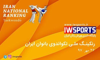 رنکینگ ملی تکواندوی بانوان یران 26 مهر 97 400x240 رنکینگ ملی تکواندو بانوان ایران