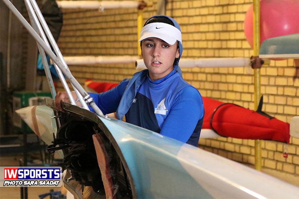 تمرین هانیه بیداد دختر قایقران رویینگ ایران در راه المپیک جوانان آرژانتین