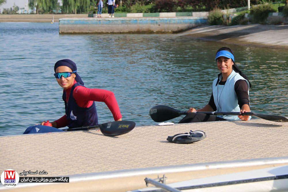 تمرین تیم ملی قایقرانی کایاک بانوان آرزو حکیمی و هدیه کاظمی 1000x667 گزارش تصویری | تمرین تیمهای ملی قایقرانی رویینگ و آبهای آرام بانوان