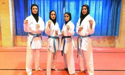 تیم ملی کاراته بانوان کومیته تیمی قهرمانی آسیا ازبکستان 400x240 قهرمانی دختران کومیته تیمی ایران در کاراته قهرمانی آسیا در تاشکند