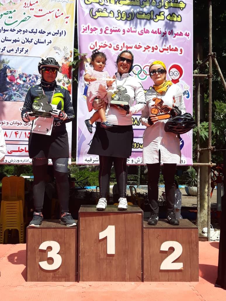 index صحنه زیبا در لیگ دوچرخه سواری کوهستان|  بانوی قهرمان بچه به بغل روی سکو رفت |عکس