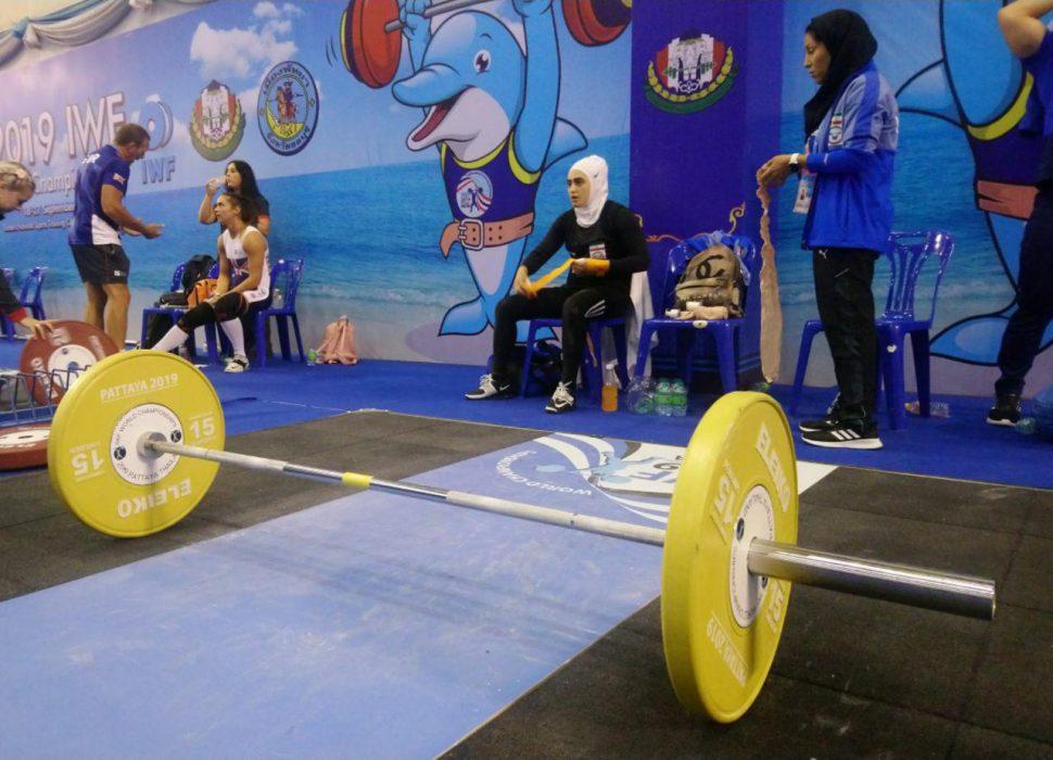 ابریشم ارجمندخواه 970x700 تصاویر حضور ابریشم ارجمندخواه در مسابقات وزنه برداری قهرمانی جهان