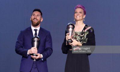 لیونل مسی و مگان راپینو 400x240 مراسم برترینهای فوتبال جهان | مگان راپینو بهترین بازیکن شد، ون ونندال بهترین دروازه بان