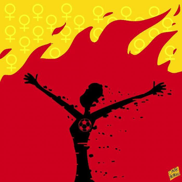 کاریکاتور عمر مومنی درباره خودسوزی دختر آبی 700x700 کاریکاتور عمر مومنی درباره خودسوزی دختر آبی (عکس)