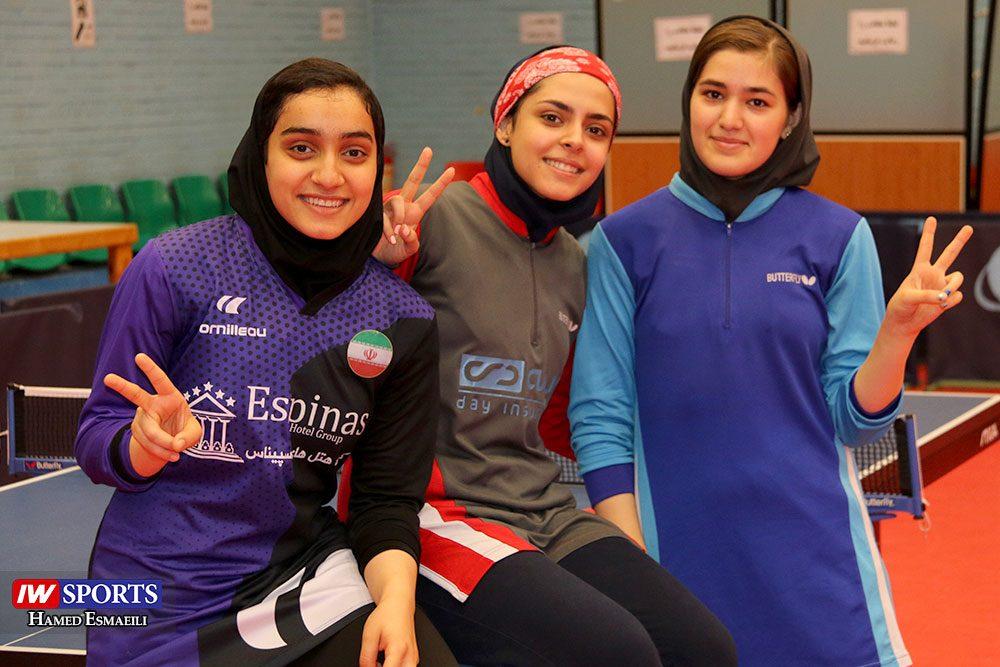 تمرین تیم ملی تنیس روی میز از راست ملیکا کرمی، هلیا اصغری و کیمیا رستمی 1000x667 گزارش تصویری | شور و انرژی در تمرین تیم ملی تنیس روی میز