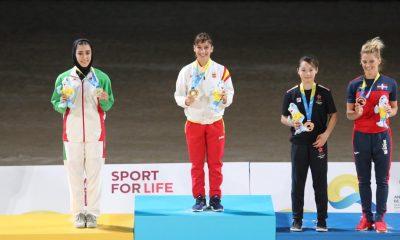 فاطمه صادقی در المپیک ساحلی قطر 1 400x240 ویدئو | نظرات فاطمه صادقی پس از کسب مدال نقره کاتای بازیهای جهانی ساحلی