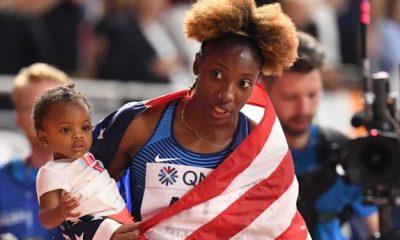 نیا علی دونده آمریکایی 400x240 ویدئو | قهرمانی نیا علی دونده آمریکایی در دو 100 متر با مانع قهرمانی جهان