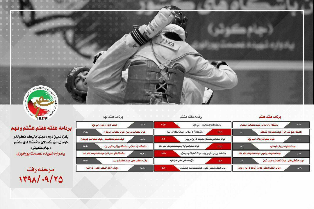برنامه لیگ تکواندوی بانوان ستارگان اسپریچو و فتح صدر البرز ؛ چشم در چشم در هفته هشتم لیگ تکواندو