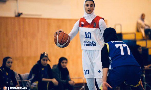 کیمیا یزدیان طهران لیگ برتر بسکتبال بانوان گروه بهمن 590x354 گروه بهمن یک گام به قهرمانی لیگ برتر بسکتبال نزدیک شد