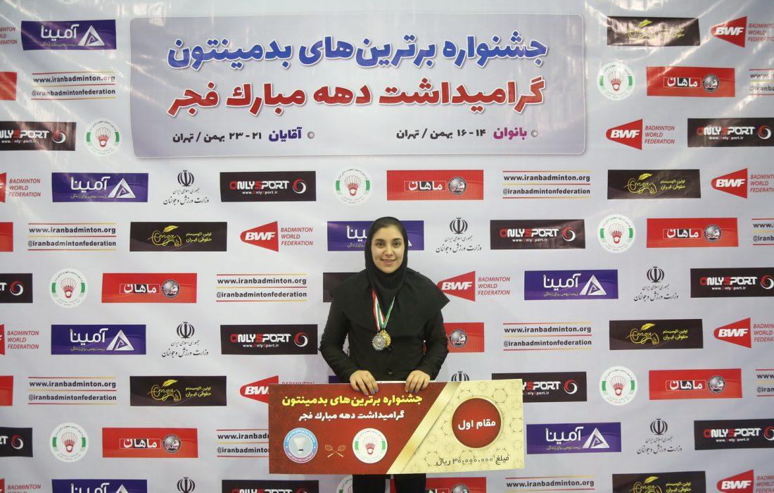 نسیم صفایی قهرمان برترین های بدمینتون ایران شد